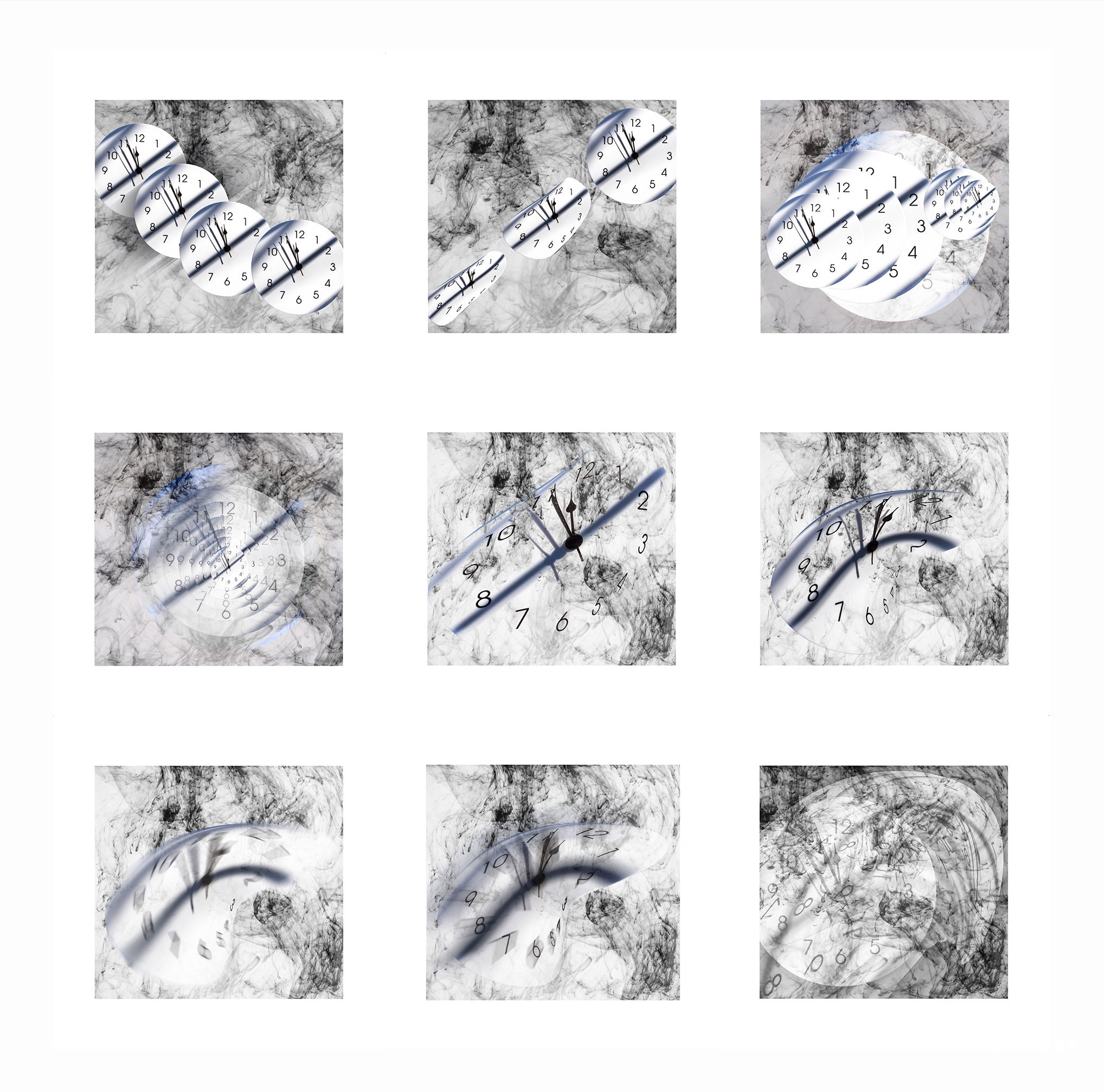 Kunstprojekt, 9er-Serie  Zeitvergänglichkeit, Wilfried Malkusch